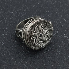 1 Pc Vintage Magic Pentagram Rings Unisex Fashion Finger Ring Alloy Jewelry US 7