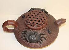 A Large Chinese Yixing Zisha Clay Tea Pot  Unusal Design Mark Crab & Basket