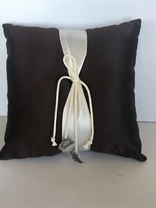 Western Wedding Ring Pillow, Brown, Silver Tone Cowboy Charms