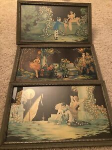 Rare set of 3 Tsanya Art Deco prints 1920's-30's Original frames artist Marygold