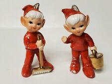 Vintage Lefton Pixie Elf Gardeners Figurines Red Suits Rake Bucket 3296