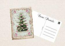 Postkarte-Geschenkkarte-Grußkarte-Vintage-Shabby-Weihnachten-Tannenbaum-5011
