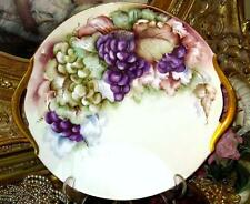 LIMOGES HAND PAINTED GRAPES DOUBLE HANDLED CAKE PLATE Artist SIGNED