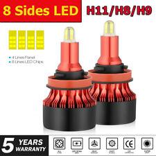 8 Sides H11 H8 H9 LED Headlight Bulbs 360 Degree Fog Lights 480000LM 6000K White