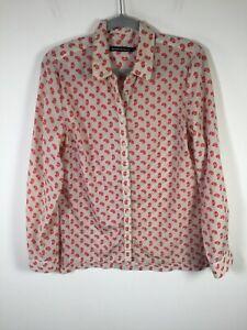 Sportscraft womens white paisley button up shirt size 12 long sleeve