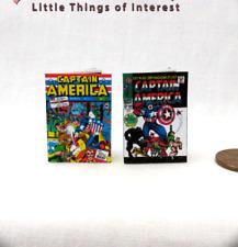 CAPTAIN AMERICA COMIC BOOKS 2 Dollhouse Miniatures Illustrated Readable 1:12