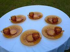 COLONY AMBER SNACK/LUNCH/PLATE WITH CUP , ( THUMB PRINT PAT.) SETTING FOR 10.