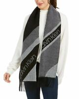 Calvin Klein Womens Tri-Color Spliced Woven Scarf Black