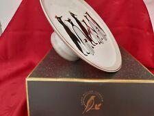 Portmeirion Sara Miller Footed Cake Plate Christmas PENGUIN Design Gift Box NEW