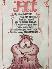 Irving Pet Poster Vintage Vagabond Headshop Pin-up 1970's Reese James Eyes Luck