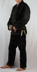 KANKU Black BJJ Gi with yellow, red, or black stitching jiu jitsu uniform pearl