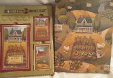 VINTAGE BOX GIFT SET 2 DECKS PLAYING CARDS SCORE PAD PEN FARM CHICKENS BARN NOS