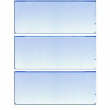 100 Sheets - 300 Checks  Blank Check Stock Paper - Blue - Three (3) on a Page