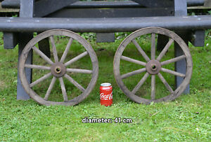 2x Vintage old wooden cart wagon wheels wheel  / 41 cm  - FREE DELIVERY