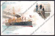 ITALIA  NAVE DA GUERRA 1a classe MARINA SHIP NAVIGAZIONE Cartolina viagg. 1900
