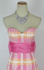 NEW $500 Jovani Mermaid Prom Formal Gown Long Striped Orange Strapless Size 2