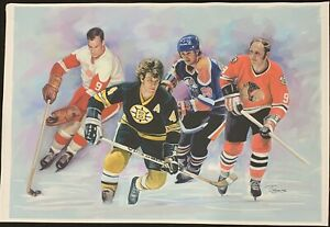 28x39 Orr Gretzky Howe Hull Canvas Print From Original Oil Painting (Jiang)