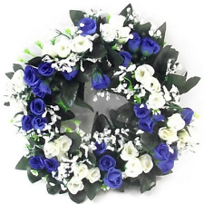 Artificial / Silk Flower Wreath Blue and Ivory Rosebuds and Gyp Grave / Memorial