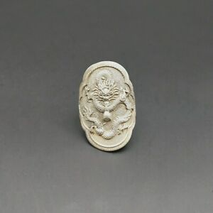 Chinese original personality retro pure handmade Miao silver dragon ring 1piece