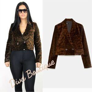 Zara AW 2018/19 Animal Print Velvet Blazer Coat Size S Free P&P Brand New