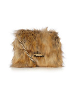 Karen Millen Brown Rockefeller Fur Chain Strap Cross Body Shoulder Hand Bag £145