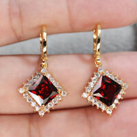 18K Gold Filled Earrings Women Red Garnet Square Dangle Zircon Wedding Jewelry