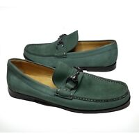 Peter Millar Men Size 8 Bit Loafers Green Leather Shoes moc toe Made in Brazil