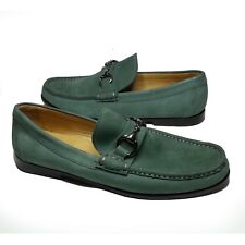 Peter Millar Men Size 8 Bit Loafers Green Leather Shoes moc toe Made in Bra