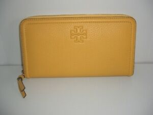 NEW Tory Burch Pebbled Leather Yellow Day Lily Zip Around Wallet