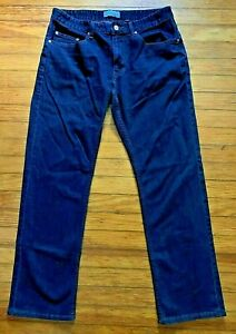 Five Four Men's Dark Washed Straight Button Fly Jeans Size 32/31, Stripe Pockets