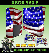 XBOX 360 E USA AMERICAN FLAG STARS AND STRIPES STICKER SKIN & 2 X PAD SKINS