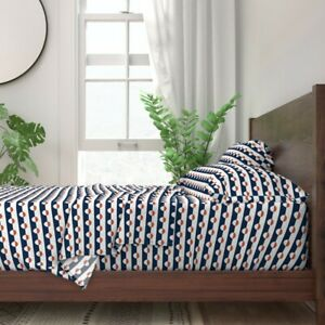Nautical Stripes Navy Geometric Red 100% Cotton Sateen Sheet Set by Roostery