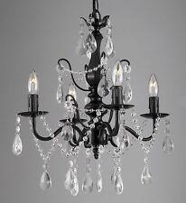 Wrought Iron and Crystal 4 Light Black Chandelier H14 X W15 Pendant Lighting