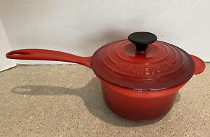 Vtg Le Creuset France Cast Iron Sauce Pan 1.25 1 1/4 Quart #16 Red Enamel EUC