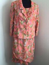 Anita Modes 1950's jacket dress bright flowers bubble maternal Vintage size 12