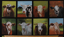 """23.5"""" X 44"""" Panel Down On The Farm Cows Cattle Faces Cotton Fabric Panel D582.46"""