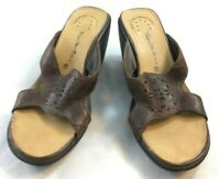 Thom McAn Womens Size 6.5 Brown Leather Open Toe Slip On Wedge Pumps Heels Shoes