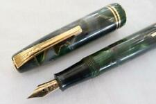 More details for burnham no. 55 fountain pen, geen/brown/purple marbled c1950 fully restored