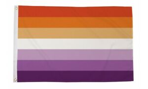 Lesbian Sunset Stripes Flag 5 x 3 FT - 100% Polyester With Eyelets  - Gay Pride