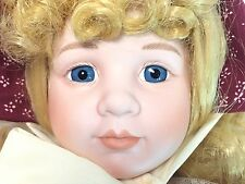"Dynasty Collection Vintage Calico Burgundy Dress Blonde Wendy 16"" Porcelain Doll"