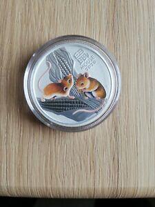 1/2 Unze Silbermünze 50 Cents Australien Lunar3 Erstausgabe 2020 Maus Color