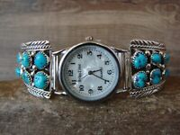 Native American Indian Jewelry Sterling Silver Turquoise  Watch - MH
