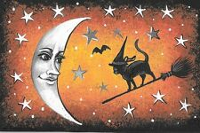 LE HALLOWEEN POSTCARD PRINT RYTA 2/150 VINTAGE STYLE 4x6 BLACK CAT ART WITCH