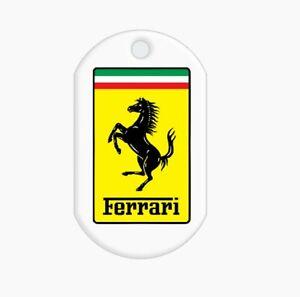 Personalised Sublimated farrari dog tag keyring necklace custom gifts name added