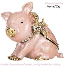 JEWEL PINK FROG  ~ ENAMEL /& JEWELED TRINKET BOX #4004PK