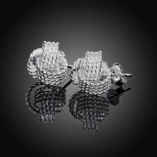 Women Fashion 925 Silver Hoop Stud Earrings Wedding Jewelry DLE13