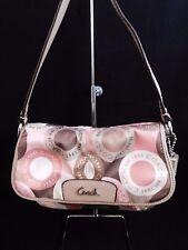 Coach Snaphead Sateen Small Demi Shoulder Handbag Tan/Pink/Brown