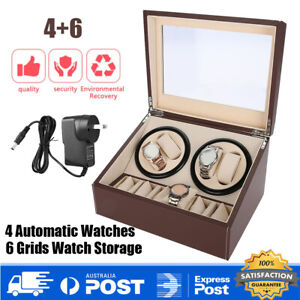 4+6 Leather Luxury Automatic Dual Motor Watch Winder Display Storage Box AU Plug