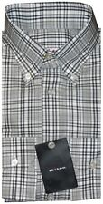 $695 NEW KITON HANDMADE WHITE & BLACK PLAID DRESS SHIRT HIGH COLLAR EU 44 17.5