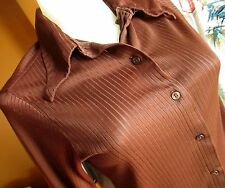 MEDIUM 34 True Vtg 70s Womens CREPE CHOCOLATE BROWN Disco KNIT TOP COLLAR SHIRT
